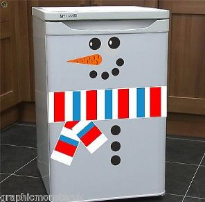 Reusable Snowman Fridge Sticker Decal Fridge Window Christmas Novelty Funny